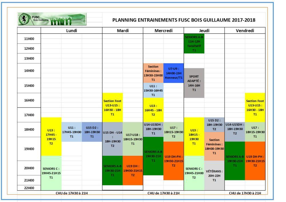 planning entrainement nouveau 2017-2018