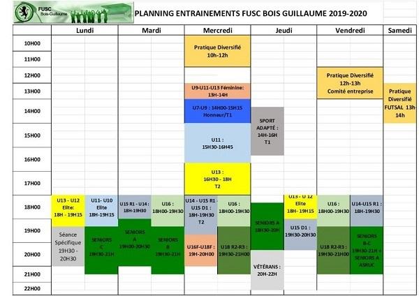 planning entrainements 2019-2020